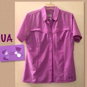 UA Outdoor Fishing Heat Gear short sleeve purple